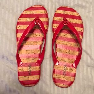 Red striped jelly sandals